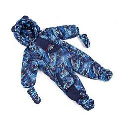 Зимний комбинезон трансформер для новорожденных 74-86  синий
