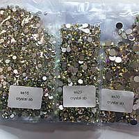 """Набор страз Crystal AB холодной фиксации ss16, ss20, ss30 """"Crystal Premium"""" серебряная подложка"""