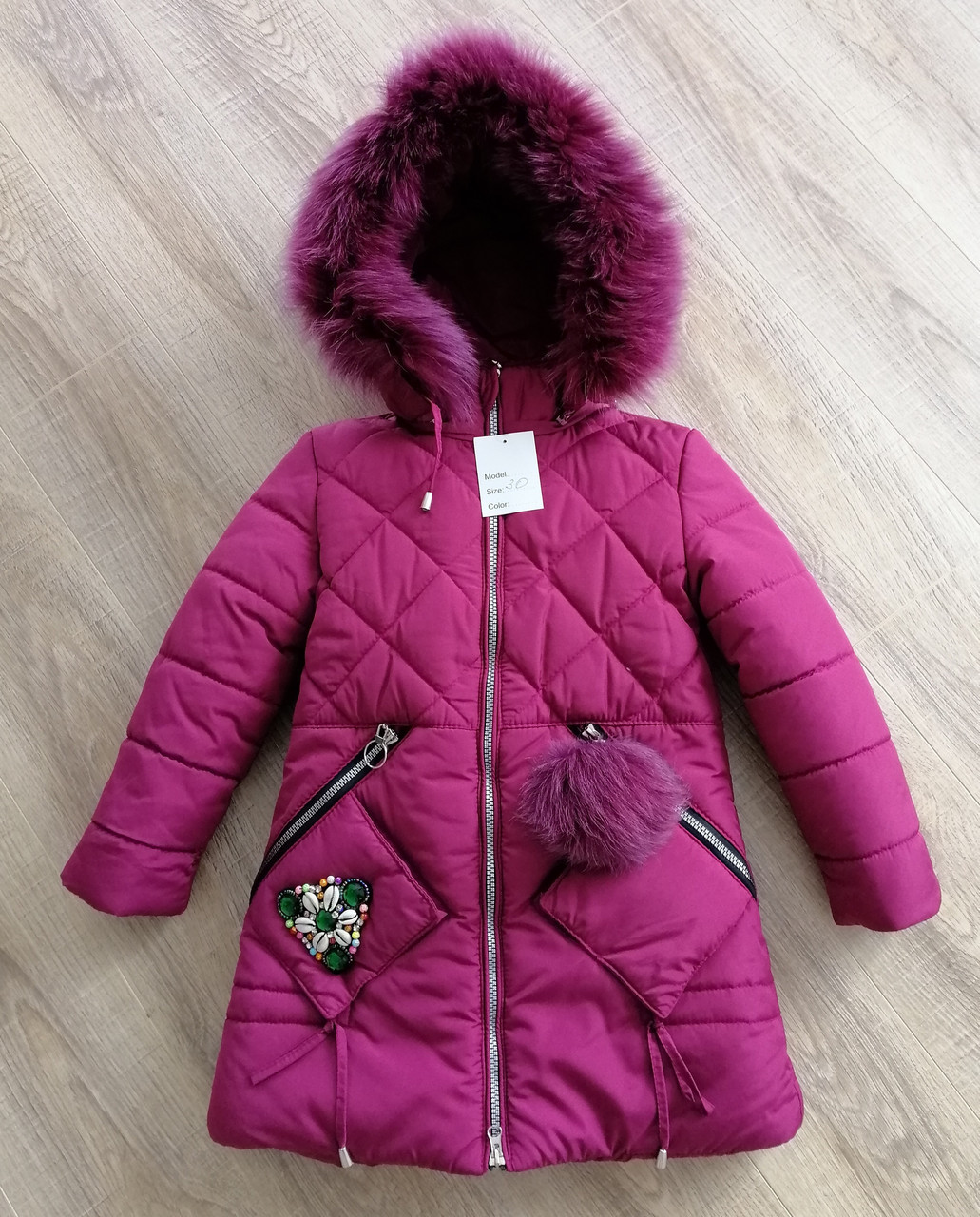 Куртки зимние для девочек    28-36 бордовый