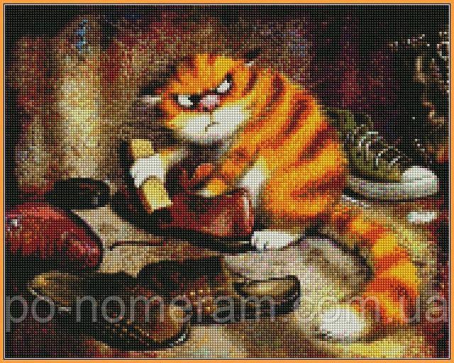 алмазная вышивка Кот чистит ботинки купить