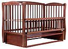 Кровать Babyroom Еліт резьба, маятник, откидной бок DER-6  бук тик, фото 3