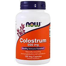 """Молозиво NOW Foods """"Colostrum"""" для поддержки иммунитета, 500 мг (120 капсул)"""
