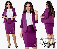 Женский костюм тройка (пиджак + блузка + юбка) из креп костюмки
