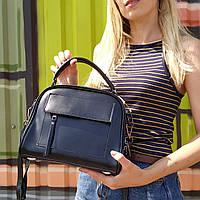 """Женская кожаная сумка-саквояж  """"Элизавет Black"""", фото 1"""