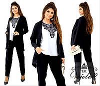 Женский костюм тройка (пиджак + блузка + штаны) из креп костюмки диагональ, фото 1