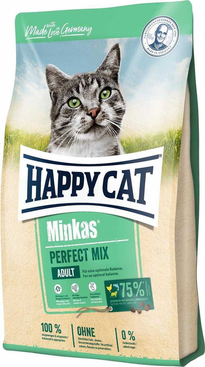 Happy Cat Minkas Perfect Mix сухой корм для взрослых кошек с птицей, ягненком и рыбой, 1.5 кг