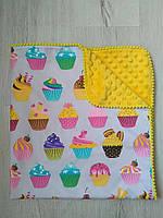 Одеяло детское Пироженки, желтое, польский хлопок и плюш Минки