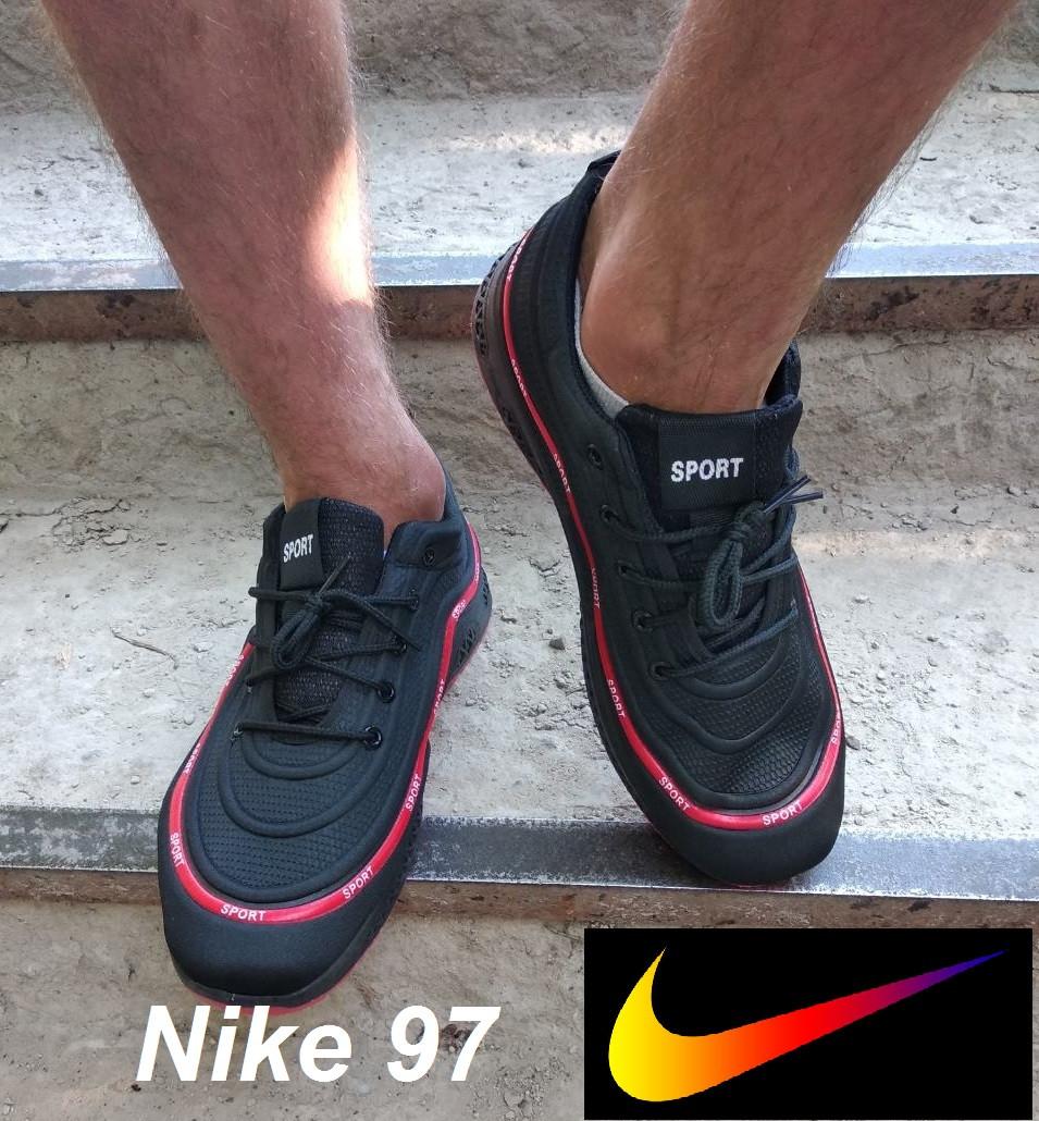 Мужские кроссовки Nike Air Max 97. Реплика. Черные кроссовки Найк.