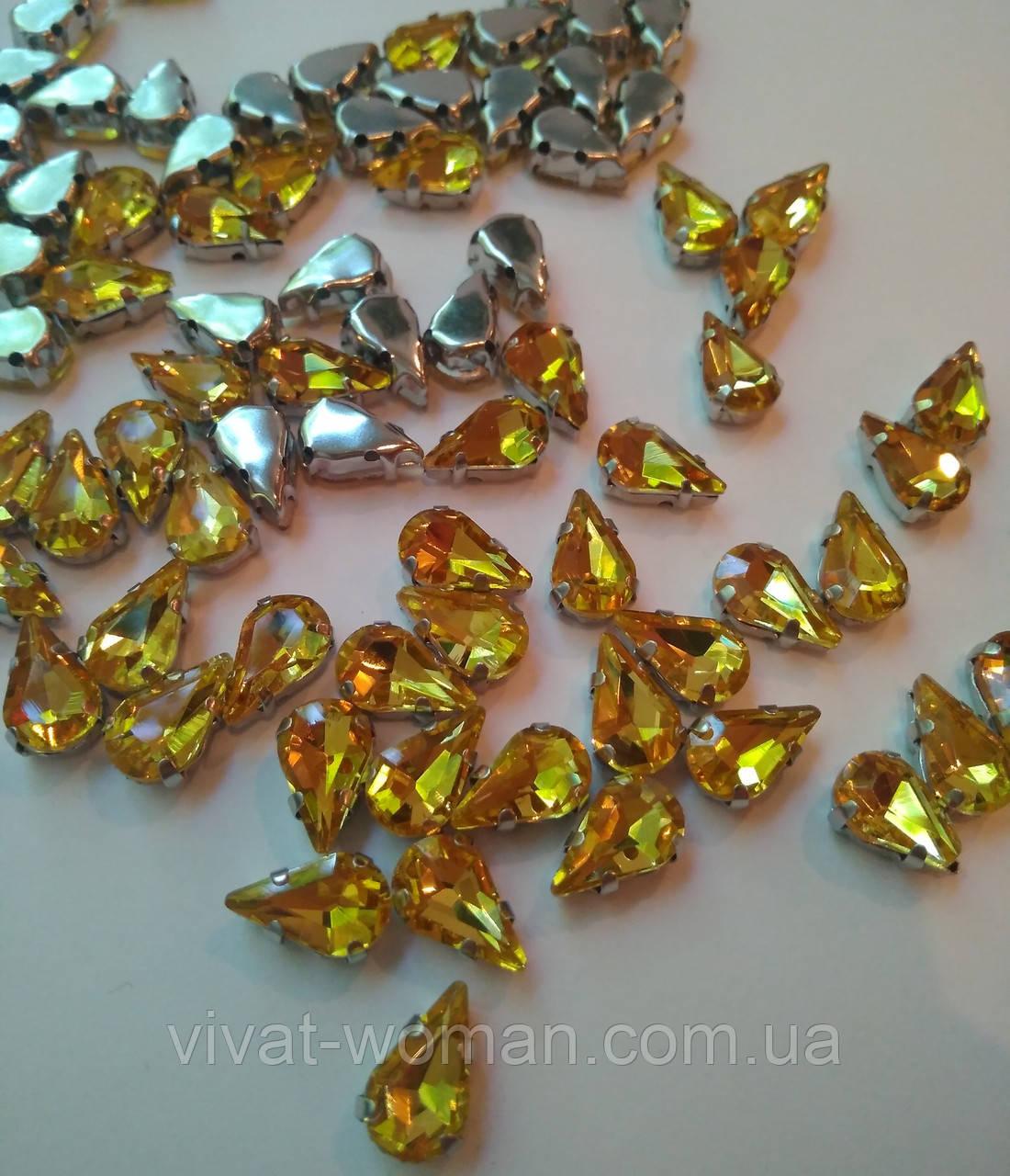 Стразы в цапах, Капля 6х10 мм, Topaz, стекло, серебряные цапы. Цена за 1 шт