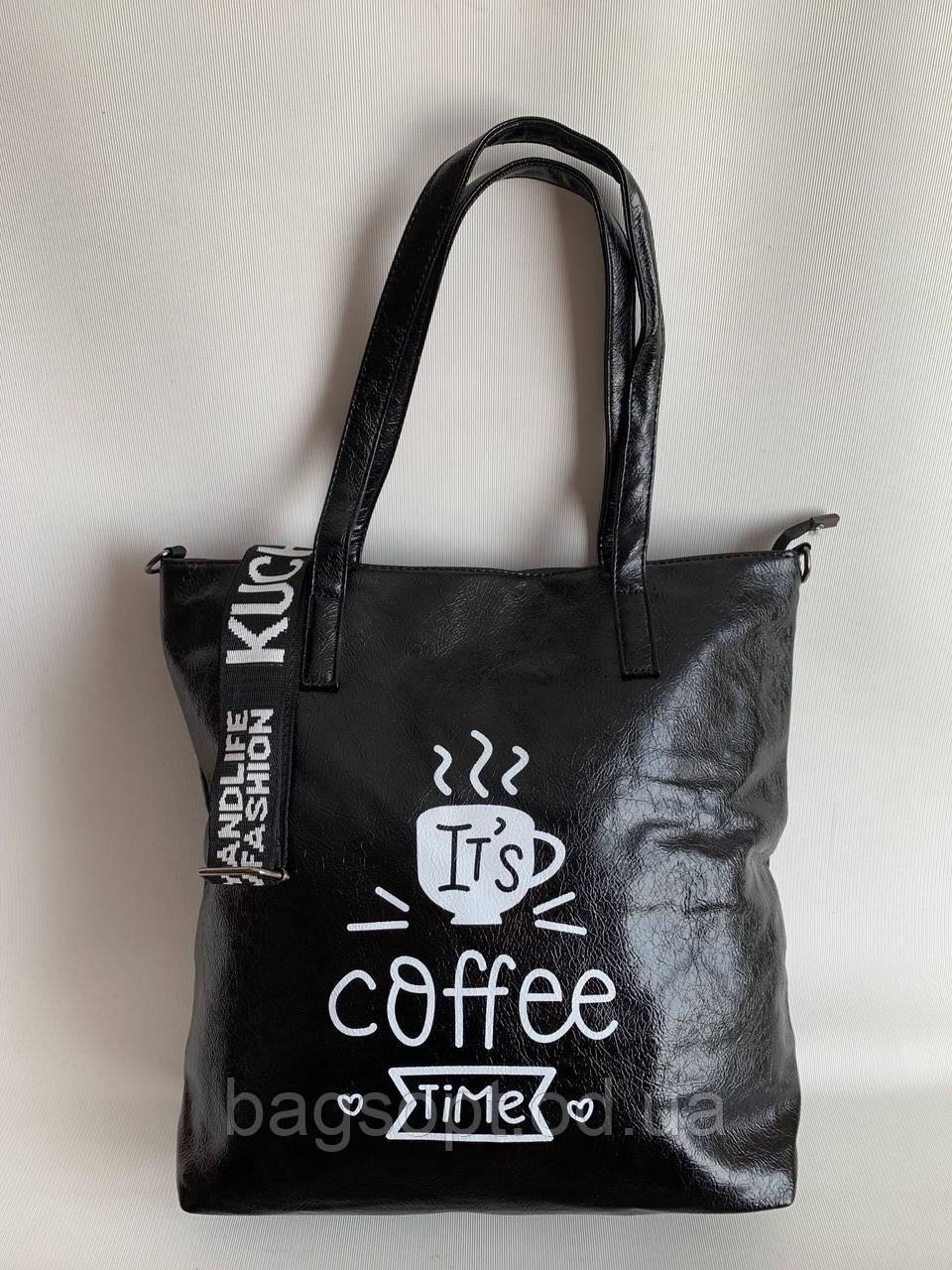 Черная женская стильная сумочка, повседневная сумка шоппер на длинном плечевом ремне