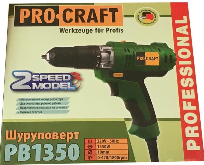 Шуруповерт сетевой ProCraft PB-1350 2-скорости. Шуруповерт ПРОКрафт
