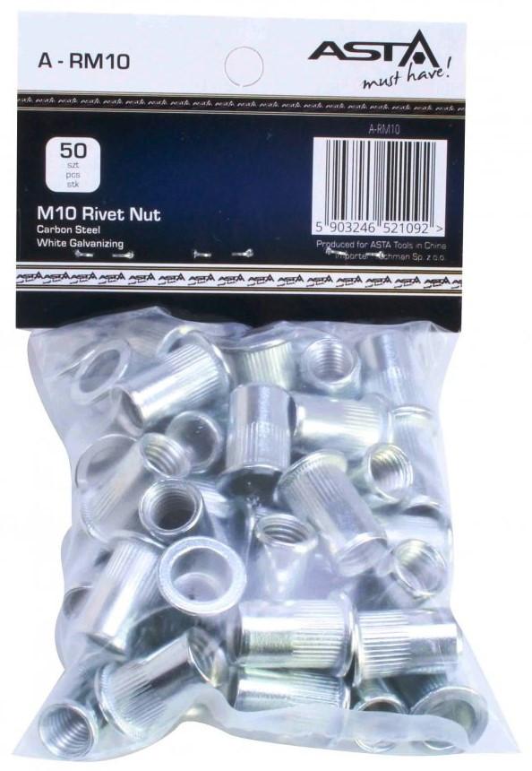 Заклепки резьбовые М10, 50 шт. ASTA A-RM10
