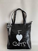 Черная вместительная сумка шоппер молодежная повседневная, фото 1