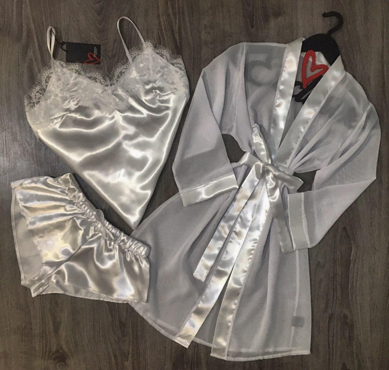 Белый прозрачный халат+атласная пижама комплект.