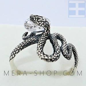 Серебряное кольцо Змея с камнем