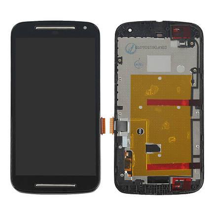 Дисплей (екран) для Motorola XT1063 Moto G (2nd Gen) з сенсором (тачскріном) і рамкою чорний, фото 2