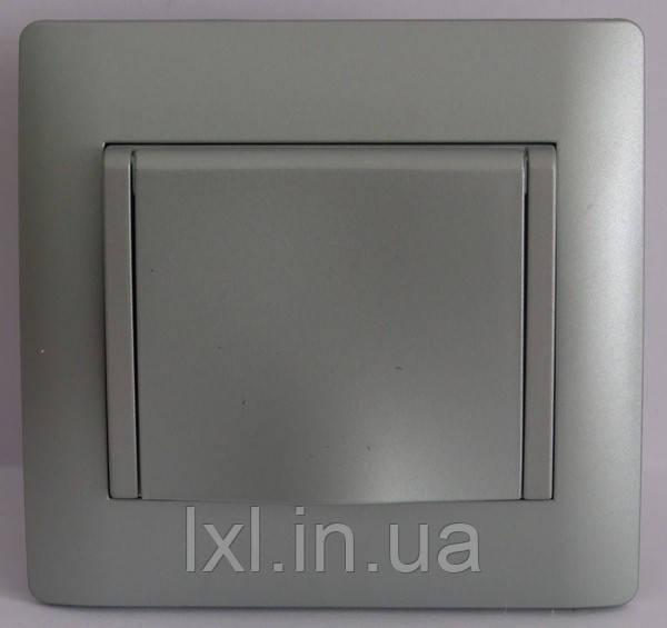 Розетка із заз. з кришкою сріблястий металік OSCAR (з рамкою)