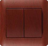 Вимикач подвійний серебристый металлик OSCAR (з рамкою), фото 5