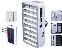 Лампа-фонарь аккумуляторная + солнечная батарея YJ-9817 ( 24LED E27 пульт д/у )