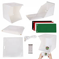 Портативный Световой Фотобокс с Led подсветкой и 4 фонами для съемки предметов. Размер Лайтбокса 30x30x32 см