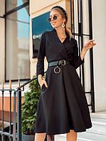 Платье стильное женское красное, чёрное, фото 1