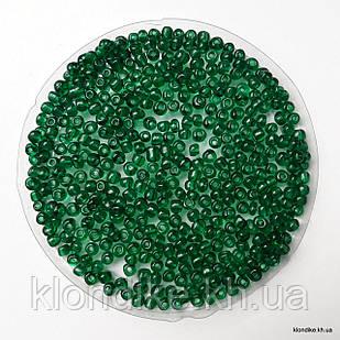 Бисер Крупный (6/0), Некалиброванный, Цвет: Зелёный прозрачный (50 грамм)