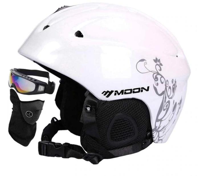 Гірськолижний / сноубордичний шолом DOTOMY MOON (Matte White + Flower) М(56-58см)