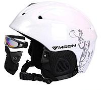 Гірськолижний / сноубордичний шолом DOTOMY MOON (Matte White + Flower) М(56-58см), фото 1