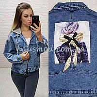 Куртка джинсовая девушка фабричный китайдлина 55 см, фото 1