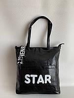 Містка чорна жіноча міцна сумка шоппер на кожен день через плече, фото 1