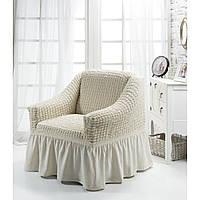 Чехол на кресло с юбкой Кремовый Burumcuk Arya Турция AR-1063214-krem