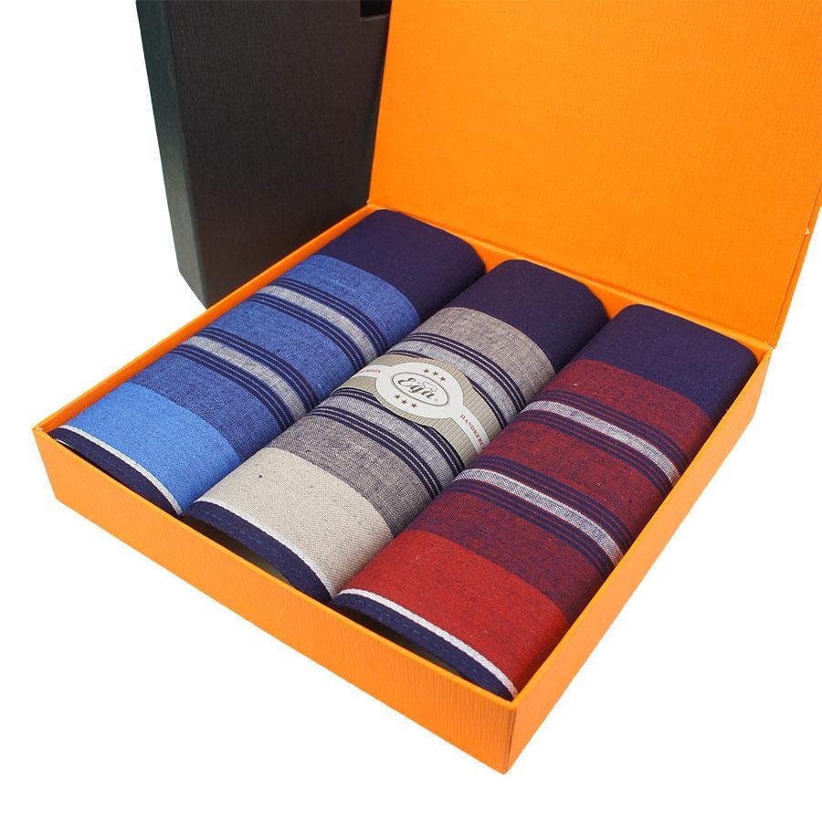 Подарунковий набір темних носових хусток у смужку для чоловіків Ega 3 шт CH-561/3С