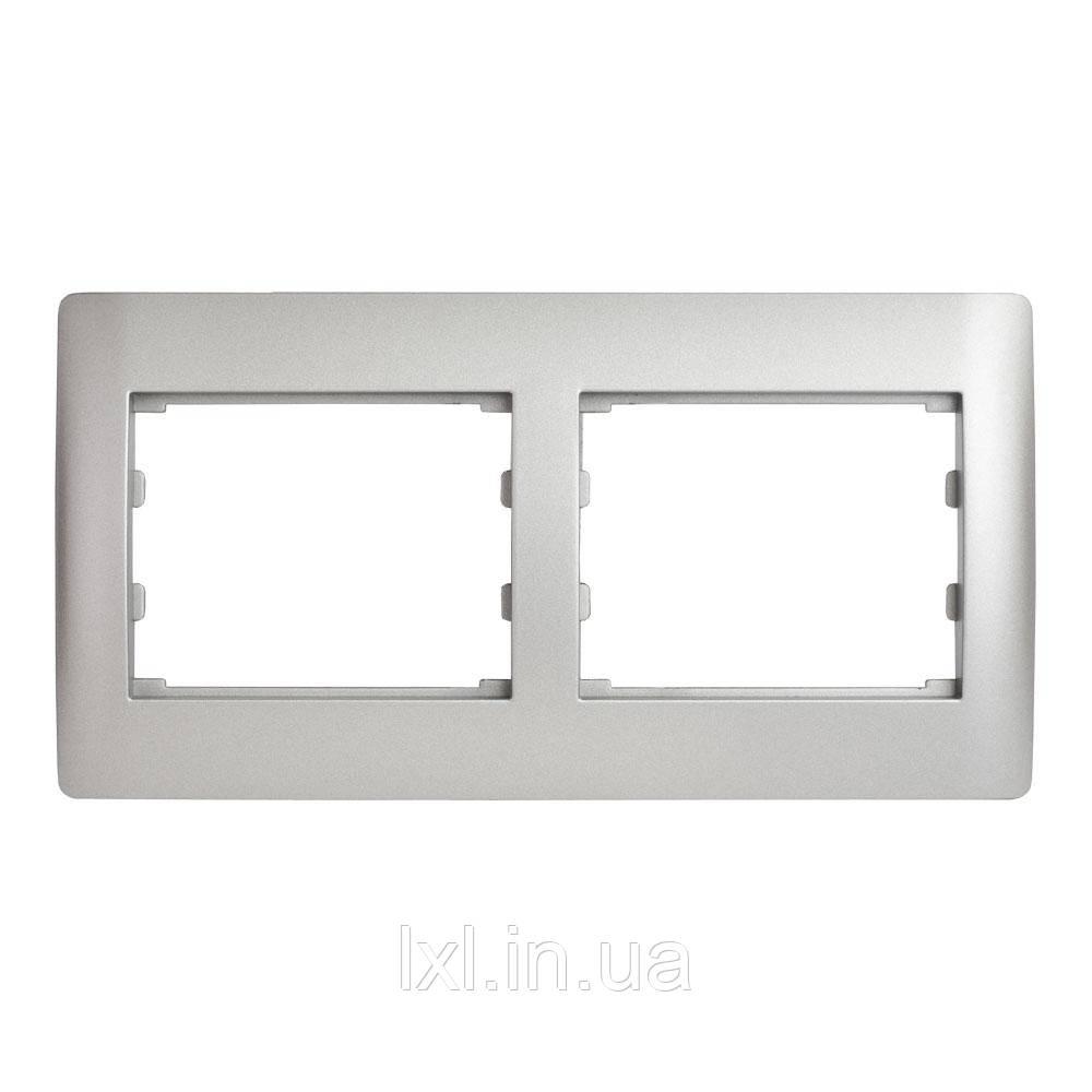 Рамка 2 місця горизонтальна серебристый металлик OSCAR