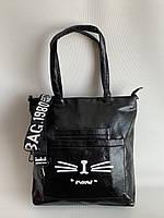 Сумка молодежная черная повседневная с широким текстильным плечевым ремнем, фото 1