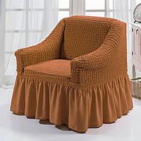 Чехол на кресло с юбкой Темно-горчичный Burumcuk Arya Турция AR-1063214-gorchica