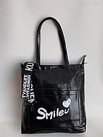 Стильная женская сумка шоппер через плечо черная повседневная с текстильным плечевым ремнем, фото 1