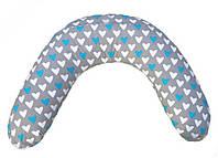 """Подушка для беременных и кормления """"Classik"""", сердечки на сером, фото 1"""