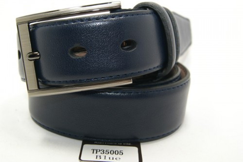 Ремень брючный классический кожаный  (синий) ALON
