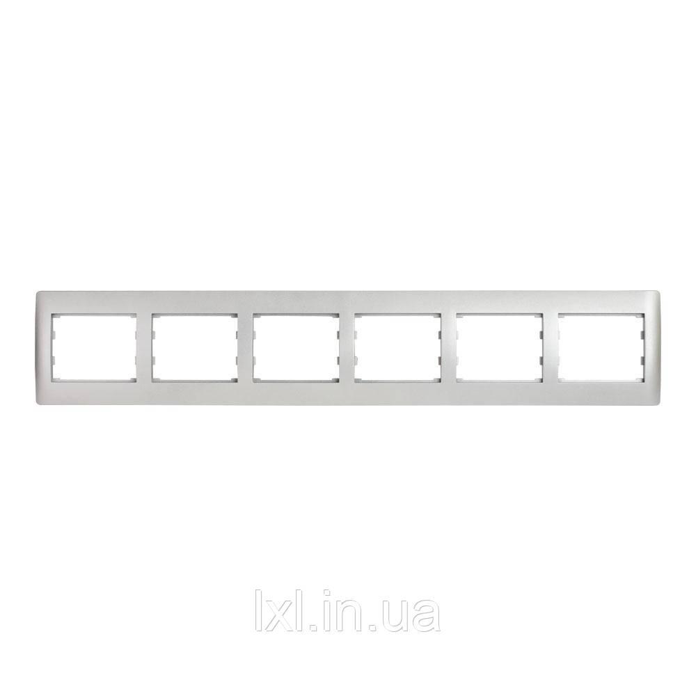 Рамка 6 місць горизонтальна серебристый металлик OSCAR