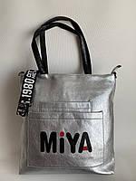Женская повседневная сумка шоппер серебристого цвета с плечевым ремнем, фото 1