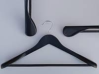 Плечики вешалки деревянные широкие черного цвета с антискользящей перекладиной, длина 45 см