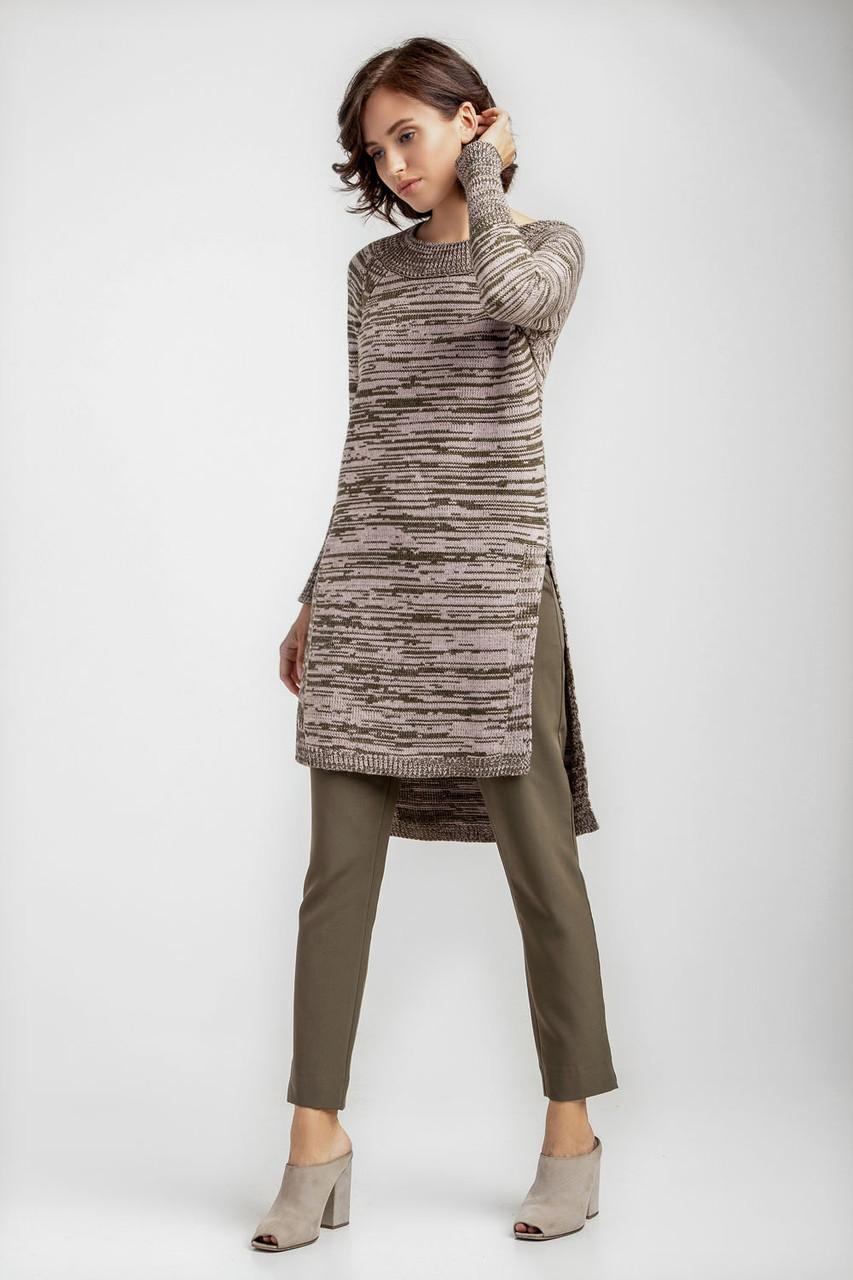 Женская удлиненная туника джемпер с высокими разрезами