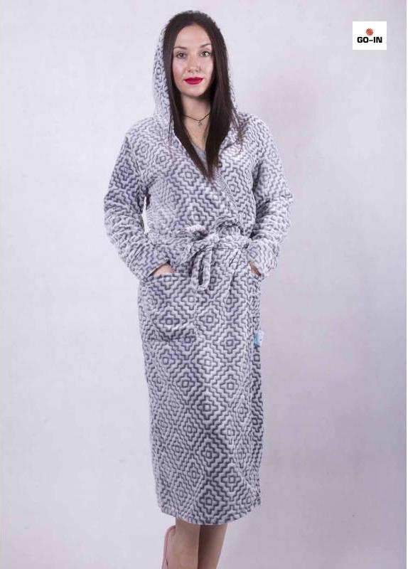 Халат махровый женский длинный на запах с капюшоном серый