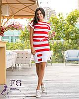 Летнее повседневное платье в красную полоску