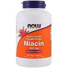 """Ниацин NOW Foods """"Niacin"""" без покраснений, двойной концентрации, 500 мг (180 капсул)"""