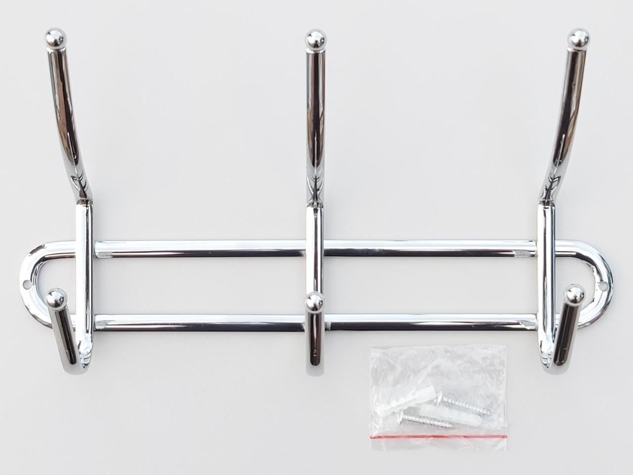 Довжина 26 см. Вішалка ВНК3 настінна метал в хромованому покритті на 3 гачка