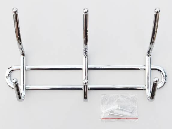 Довжина 26 см. Вішалка ВНК3 настінна метал в хромованому покритті на 3 гачка, фото 2