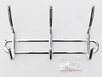 Вешалка ВНК3  настенная металл в хромированном покрытии на 3 крючка,  длина 26 см.