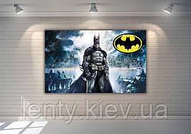 """Плакат для Кенді - бару 120х75 см (Тематичний) """"Бетмен / Бетмен / Batman"""" (темно-синій фон, жовтий лого)-"""