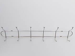 Длина 48 см. Вешалка ВНТ6  настенная металл в хромированном покрытии на 6 крючков, фото 2